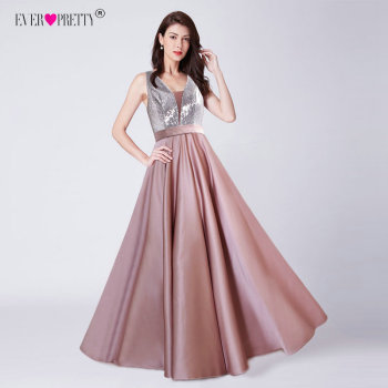V-Neck Sequined Long Evening Dress
