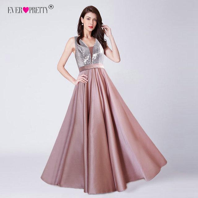 Ever Pretty V-Neck Sequined Bodice Backless A Line Long Evening Dresses Elegant Vestido De Festa Fast Shipping Satin Prom Gowns