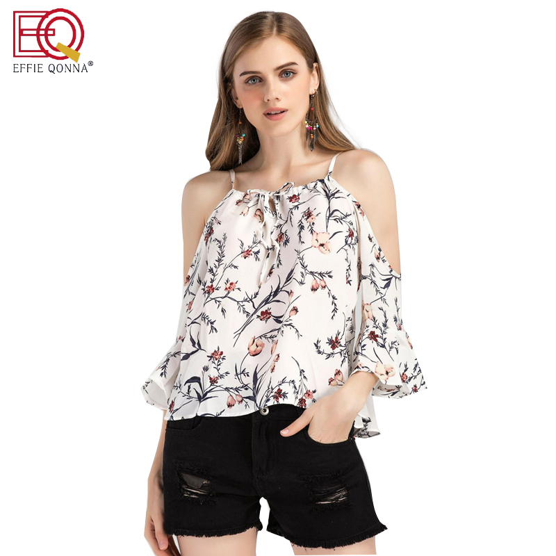 Europe and the United States in the summer of 2017 new holiday wind word off shoulder chiffon shirt