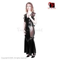 Latex Dress Rubber Gown Floor Length Long flounce swing fishtail flare Gummi playsuit Bodycon V NECK Kick Hem plus size QZ 027