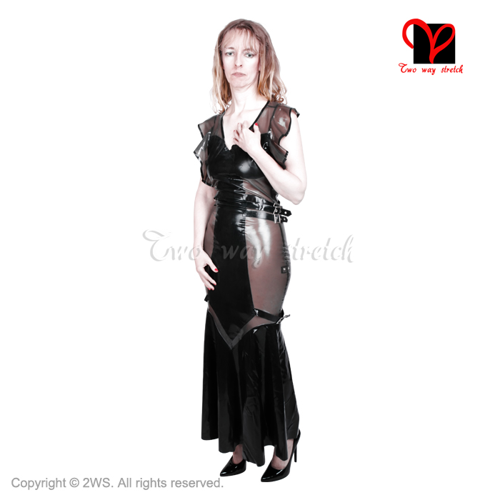 Robe en Latex robe en caoutchouc longueur au sol longue volant balançoire queue de poisson flare Gummi combishort moulante col en V coup de pied ourlet grande taille QZ-027
