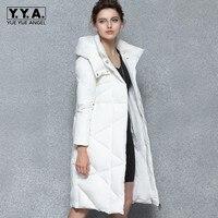 Фирменная новинка зимние Для женщин белый длинный пуховик толстый теплый Slim Fit пальто женский с капюшоном мягкие макси пальто ветрозащитна