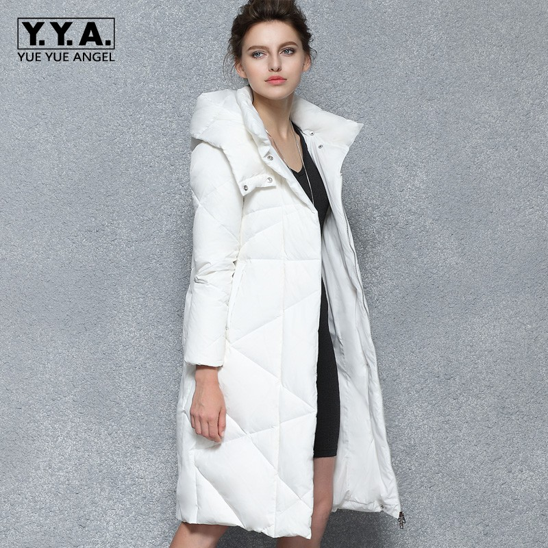 Brand New Winter Women White Long   Down   Jacket Thick Warm Slim Fit Overcoat Female Hooded Padded Maxi   Coats   Windbreaker Chaqueta