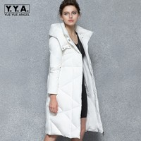 Brand New Winter Women White Long Down Jacket Thick Warm Slim Fit Overcoat Female Hooded Padded Maxi Coats Windbreaker Chaqueta