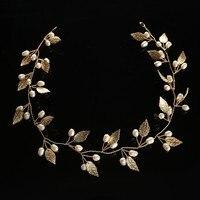 Thời trang Bridal Tóc Phụ Kiện Phụ Nữ Cô Gái Tiara Vàng Bạc Đầu Lá Mảnh Kim Loại Tóc mặc Màu Trắng Ngọc Trai Tóc Cưới Trang Sức