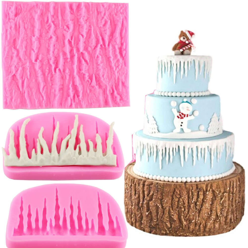 Christmas Cake Decoration Molds : 2pcs/Set Tree Bark Texture Icicle Silicone Lace Molds ...