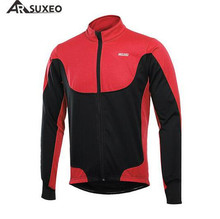 ARSUXEO Cycling Jacket MTB Clothing Jersey Outdoor Winter Thermal Warm Up Fleece Bike Bicycle Long Sleeves Cycling Coat