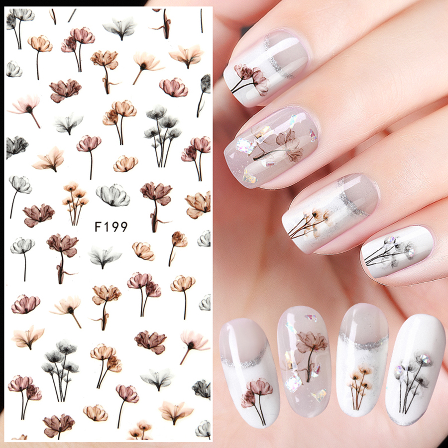 1 Sheet Embossed 3D Nail Stickers Blooming Flower 3D Nail Art Stickers Decals Adhesive Manicure Nail Art Tips Decoration 1 roll 10m clear nail double side nail adhesive tape strips tips transparent manicure nail art tool