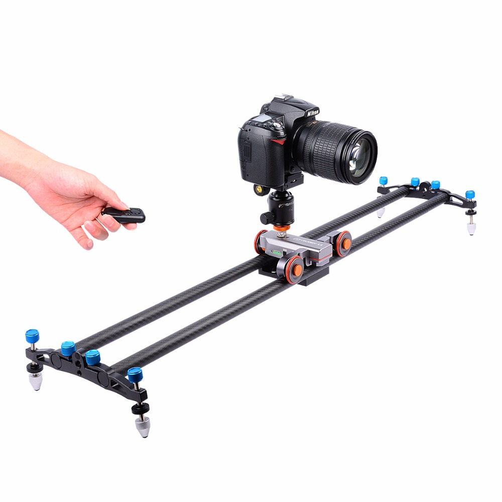 YELANGU DSLR Motorized Electric Autodolly Video Pulley Rolling Skater Slider with Remote for iPhone Camera Speed adjustable