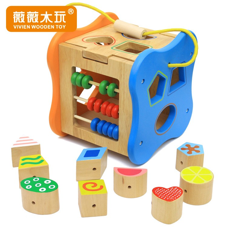 Multifunctional box Wooden Blocks shape matching the shape of childrens educational toys early childhood color digitalMultifunctional box Wooden Blocks shape matching the shape of childrens educational toys early childhood color digital