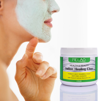 Face Mask Powder Natural Indian Healing Clay White Deep Skin Pore Cleansing Moisturizing Replenishment Oil Control Shrink Pores