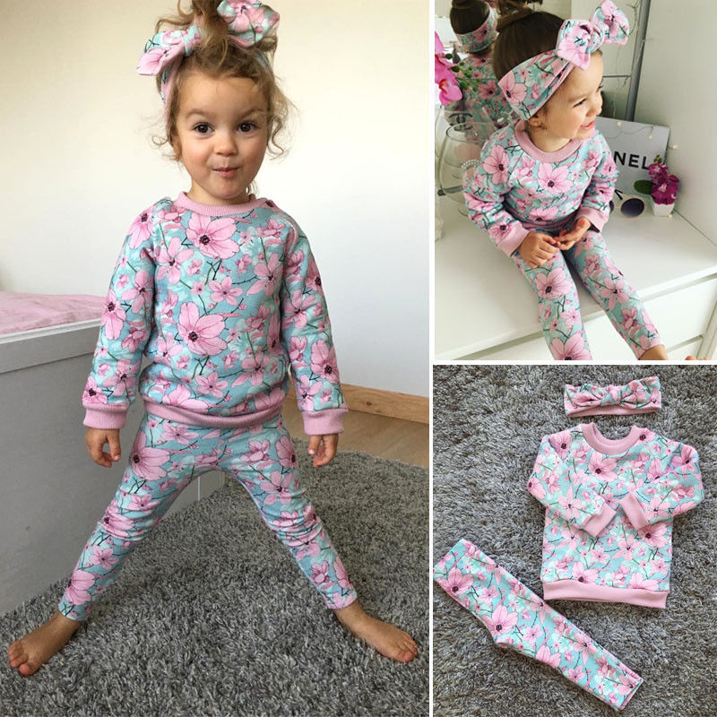 2017 Fashion floral Baby Girl Clothes Autumn newborn Baby Clothing Sets Long sleeve Top+pant +Headband 3pcs for Baby Clothes