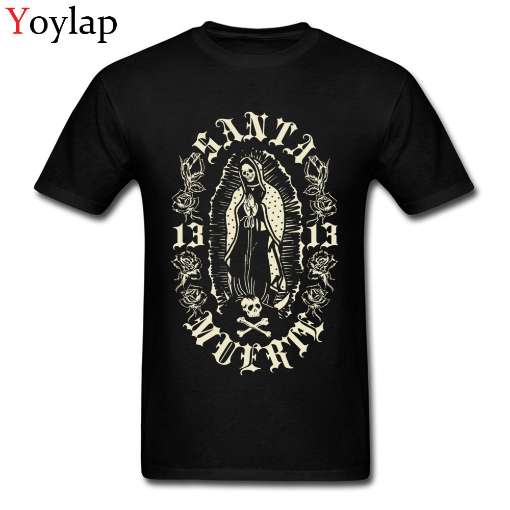 Tees Santa Muerte 13 Fall 2017 Popular Custom Short Sleeve All Cotton Crew Neck Men's T-shirts Custom Tee Shirts