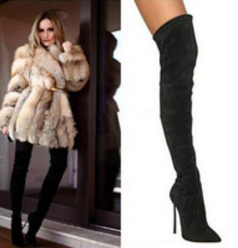 Real Photo Hot Selling Black Suede Leather Over The Knee Boots Pointed toe Side Zipper Metal Blade Heel Winter Fashion Boots hot selling beige grey suede leather over the knee boots pointed high heel side zipper tight high boots women long boots