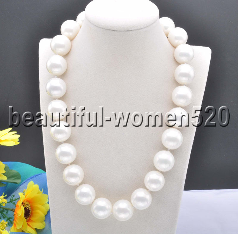 Z8306 20mm White Round SOUTH SEA SHELL PEARL NECKLACE CZ Cougar 20inchZ8306 20mm White Round SOUTH SEA SHELL PEARL NECKLACE CZ Cougar 20inch