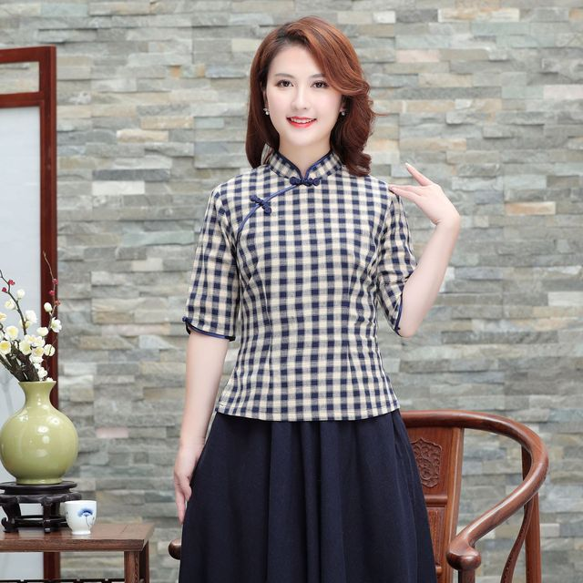 99a8a24ad8f 2019 New Chinese Women Cotton Linen Shirt Check Blouse Classic Plaid Tops  Cosplay Performance Coverall Clothing M L XL XXL XXXL
