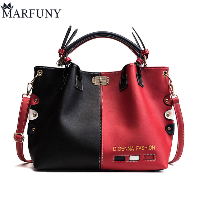 Luxury Handbags Women Bags Designer Womens Panelled Message Bag Female Leather Crossbody Bag Lock Shoulder Bags For Women 2018