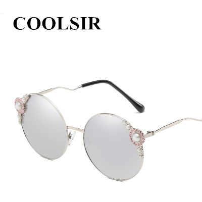 COOLSIR Роскошные Жемчужные Круглые Солнцезащитные очки женские брендовые