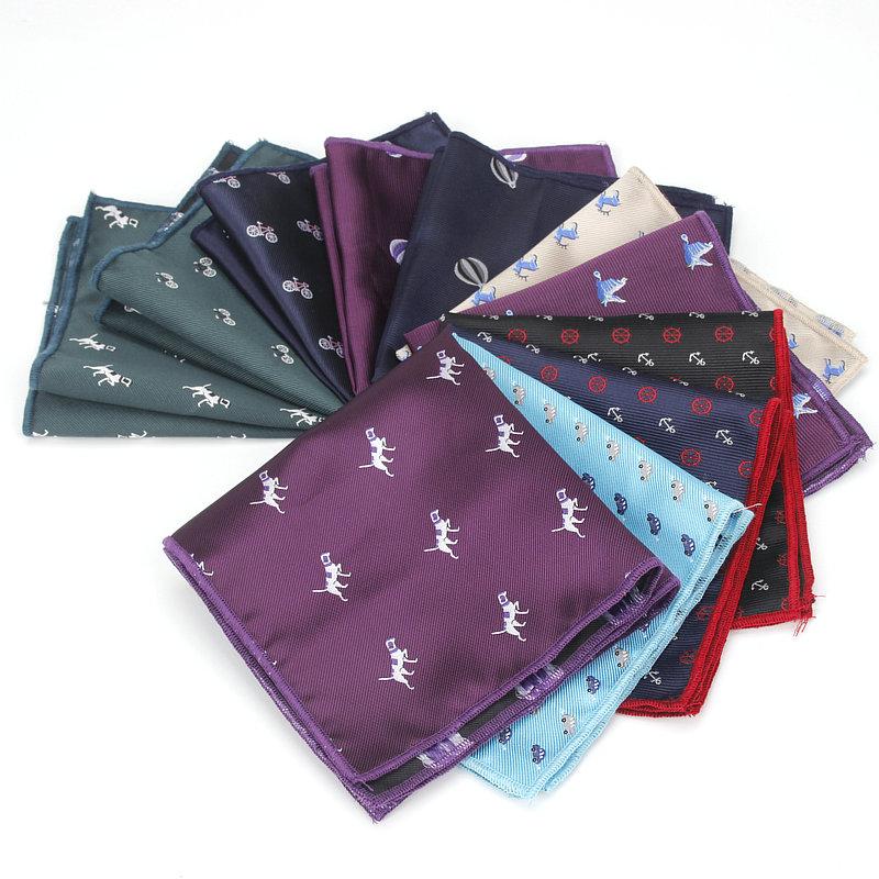 Brand New Carton Pocket Square For Men Business Chest Towel Hanky Gentlemen Animal Hankies Classic Suits Fashion Handkerchief