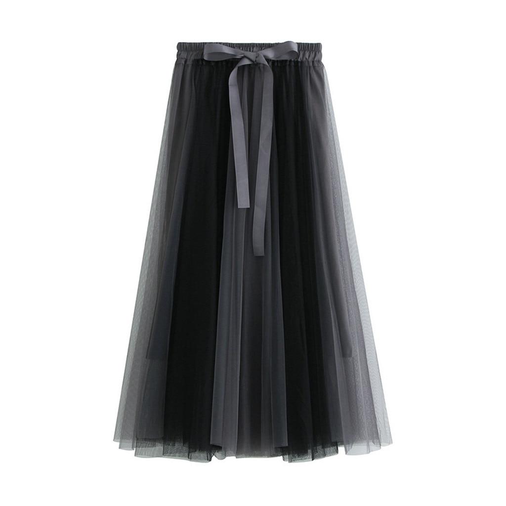 KLV 2019 Summer Newest Fashion Good Looking Women's Stretch High Waist Long Mesh Skirt Women's Pettiskirt Free Shipping D4