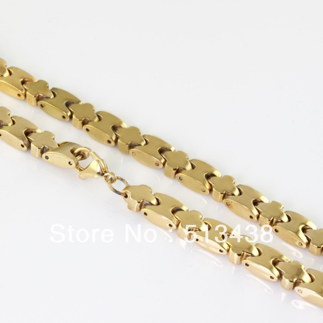 TG1072  22.6'' Strong jewelry men's 18k gold high-quality Stainless Steel 8mm cross Solid chain necklace, free shipping