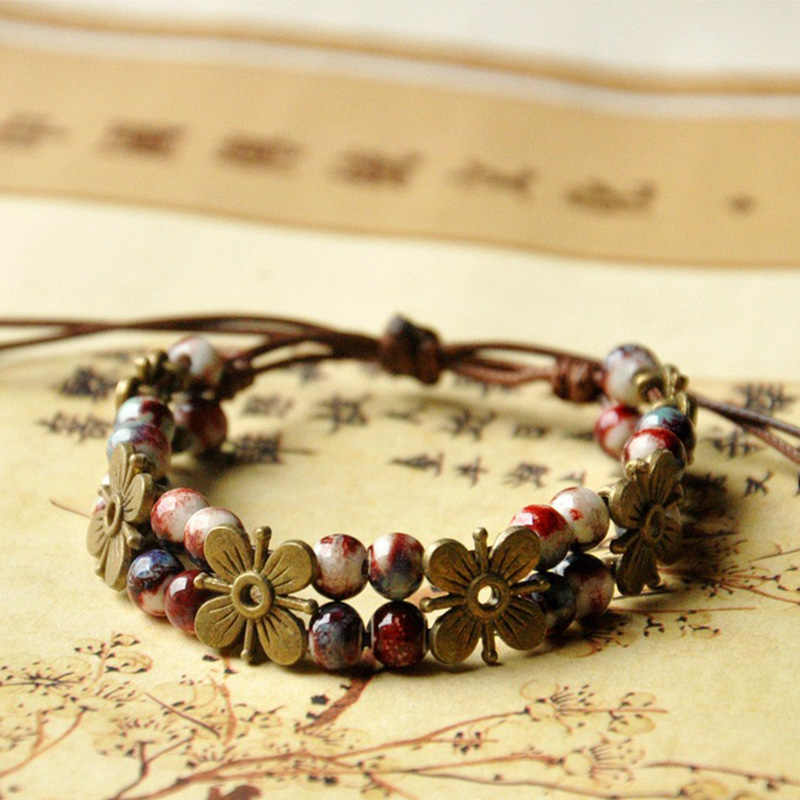 Bronze Flower Beaded Bracelets Weave Rope Cuff Bangles Ceramic Beads Charm Wristband Women Bohemia Jewelry Adjustable