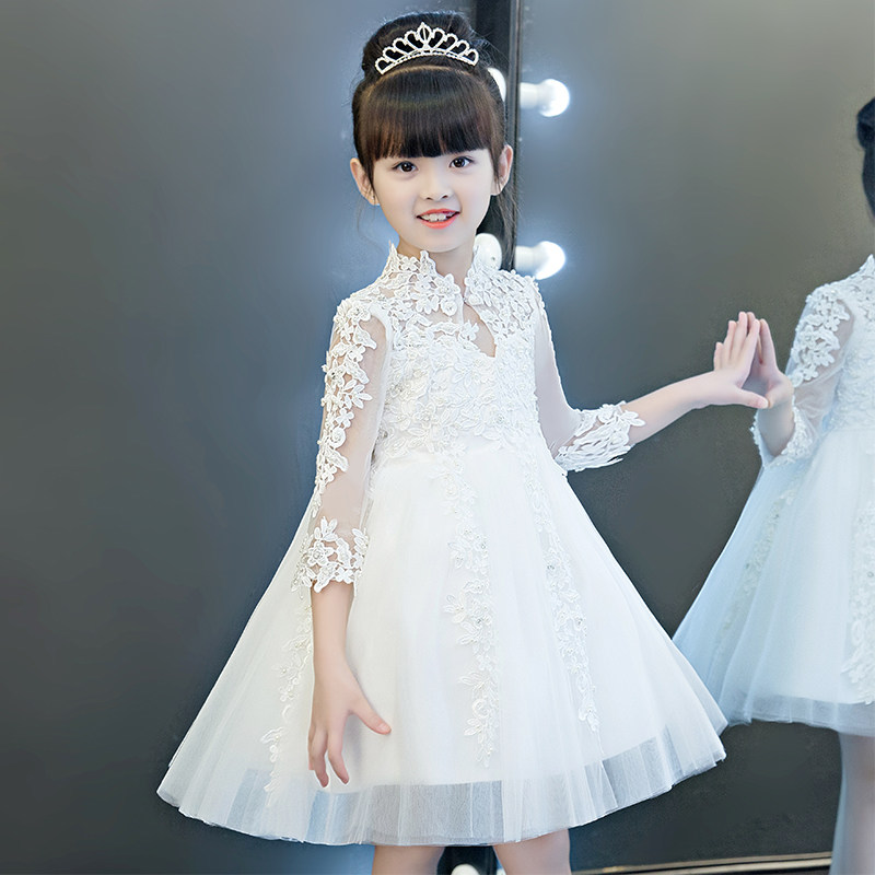 Glizt Bead White Tulle first communion dresses for girls Vestido Daminha Casamento Ball Gown Flower Girl Dresses for Weddings цены онлайн