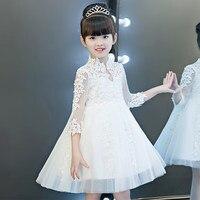 Glizt Bead White Tulle first communion dresses for girls Vestido Daminha Casamento Ball Gown Flower Girl Dresses for Weddings