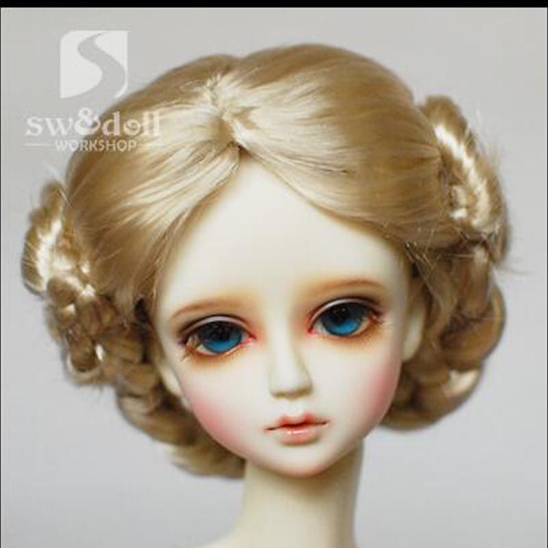 1PCS Hot Sale SD BJD Doll Wigs Blond Curly Wig For BJD Doll 1/4 1/3 1/6 1/ 8 doll hair wigs for 1 3 1 4 1 6 bjd wigs high temperature wire fashion curly hair piece for bjd sd dollfie 1pcs 25cm 100cm