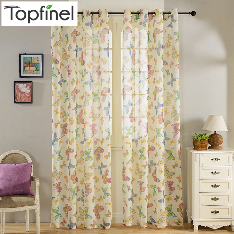 Top Finel Butterfly Sheer Curtain for Living Room Kitchen Tulle Curtains Bedroom Window Faux Linen Curtains Children Girls Room
