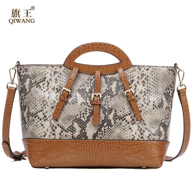 QIWANG (Dangerous!!!) Real Leather Women Handbag Brand Genuine Leather Bags Female Old Design Fashion Snake Pattern Tote Bag yuanyu 2018 new hot free shipping real python leather women clutch women hand caught bag women bag long snake women day clutches