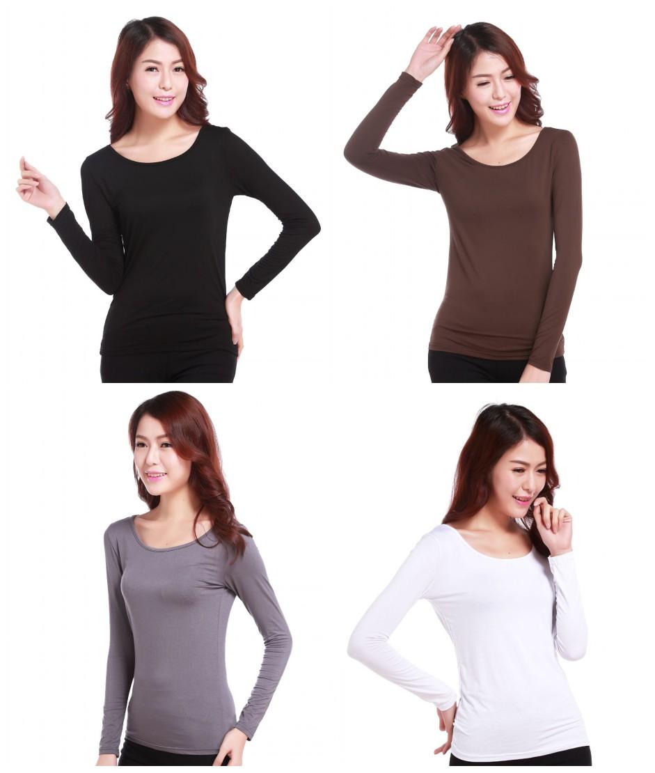 Fashion Women  Ladies Muslim Tight T Shirt Islamic Women's Long Sleeve Tops Modal Cotton Blouse