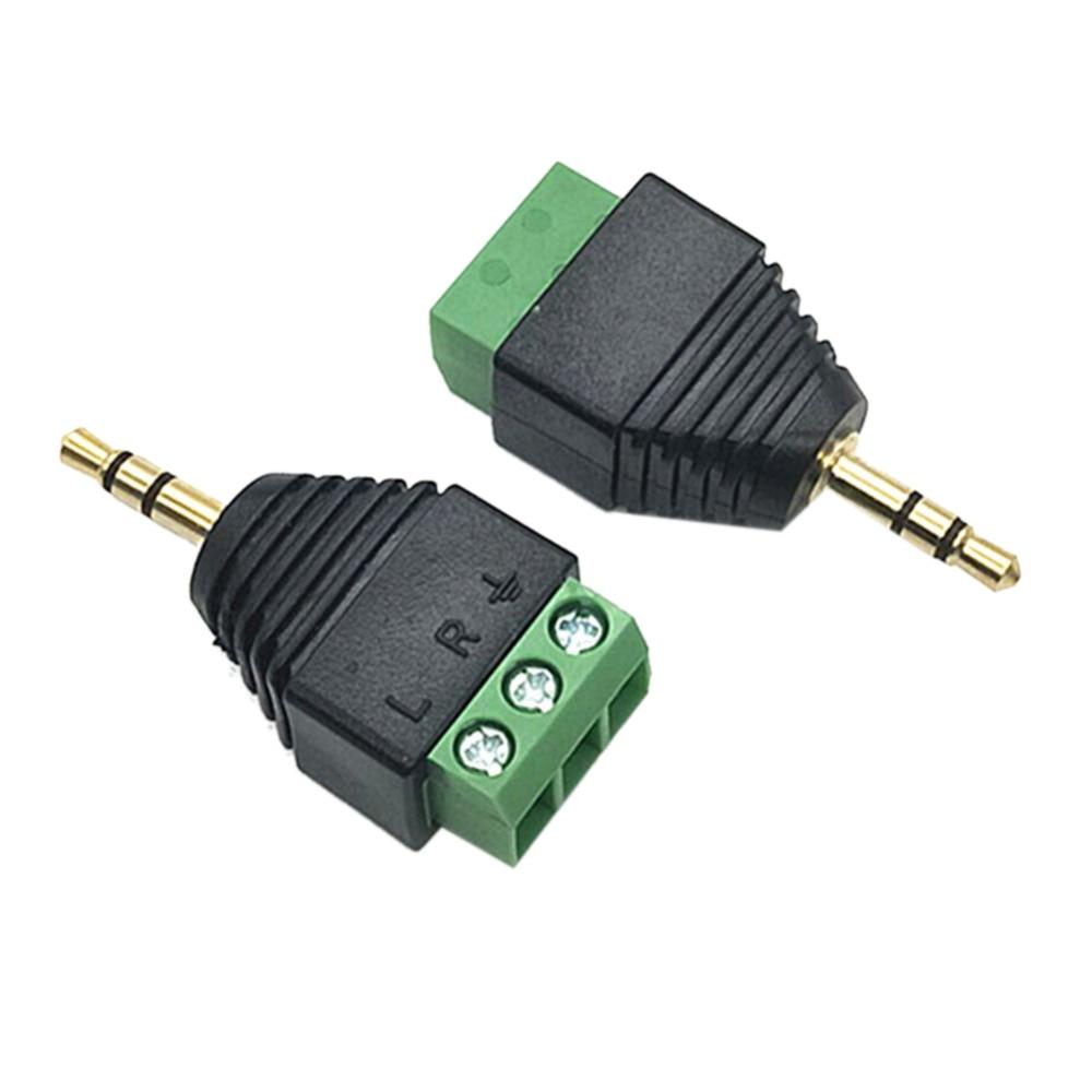 3.5 mm Male 3 pin Terminal Block Plug Connector 3.5mm 3ploe 1/8 Inch Stereo Male Plug to AV Screw Video Balun Terminal Jack 3pcs