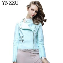 YNZZU 2019 New fashion Macaron color womens PU jacket Zippers long sleeve ladies Faux Leather Autumn Biker leather Jacket YO849
