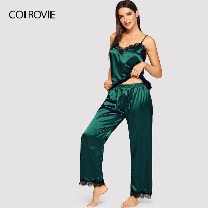 COLROVIE Green Eyelash Lace Satin Cami Pajama Set Women 2019 Fashion Burgundy Ladies Pajamas Lounge Sleepwear Sexy Nightwear