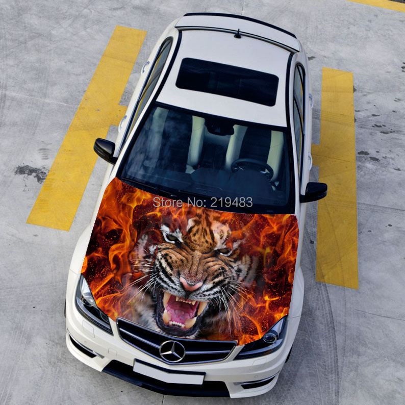 Car styling HD inkjet Ferocious Burning Tigers Hood stickers car ...