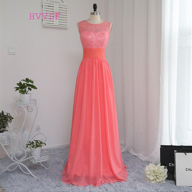 HVVLF 2018 Cheap Bridesmaid Dresses Under 50 A-line Scoop Floor Length Coral Chiffon Lace Wedding Party Dresses
