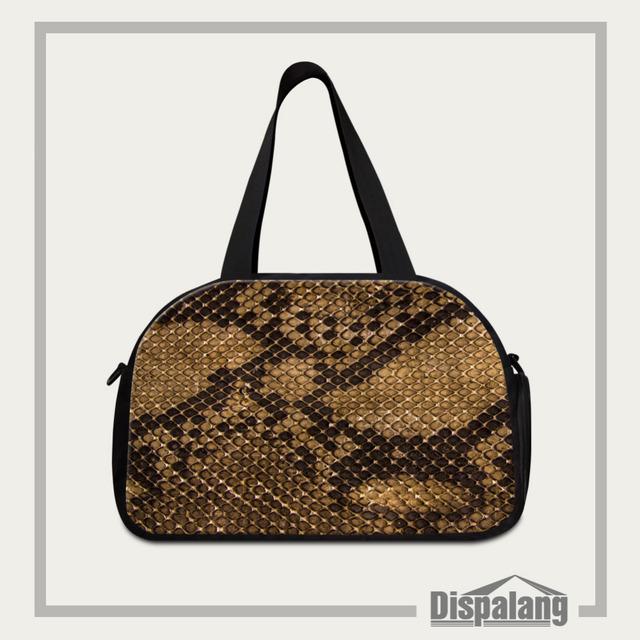 Padrão de pele de cobra Mulheres Viajar Sacos de Duffle Homens Frescos Grande Marca Saco Da Bagagem Feminino Bolsa De Viagem Com Tomada de Sapato Independente
