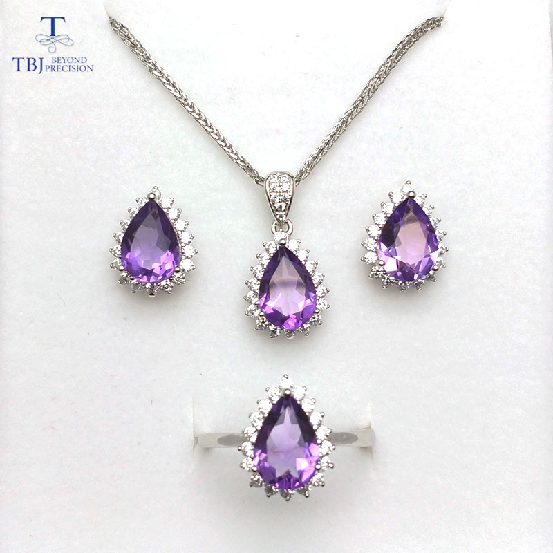 TBJ,diana classic gemstone jewelry set with natural amethyst in 925 sterling silver ring pendant earring for women girls as gift tbj 2018 new enamel jewelry set pendant earring ring 925 sterling silver fine jewelry with leather chord necklace for women gift