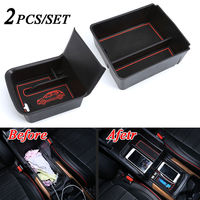 For Honda CRV CR V 2017 2018 2pcs Car Inner Console Armrest Storage Box Secondary Cover Trim Black Car Styling Accessories