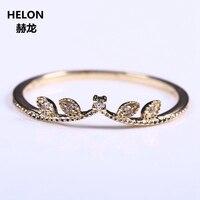 Solid 14 k Geel Goud Natuurlijke Diamant Vrouwen Verlovingsring Art Deco Millgrain Wedding Band Party Promise Ring Fijne Sieraden Leaf