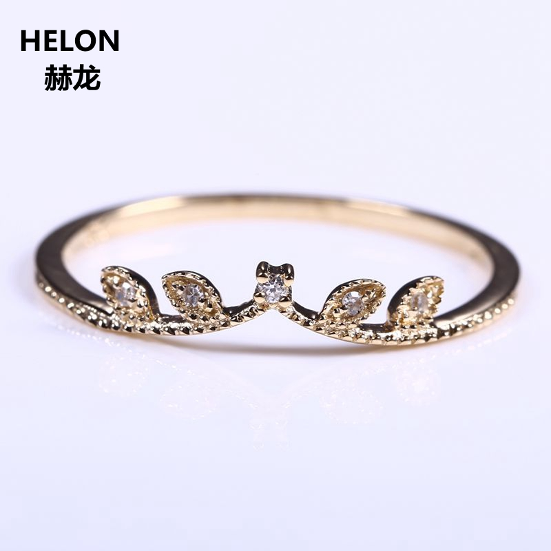 Solid 14k Yellow Gold Natural Diamond Women Engagement Ring Art Deco Millgrain Wedding Band Party Promise Ring Fine Jewelry Leaf natural ruby solid 14k white gold women girl engagement ring wedding band leaf art deco promise ring romantic cute thin