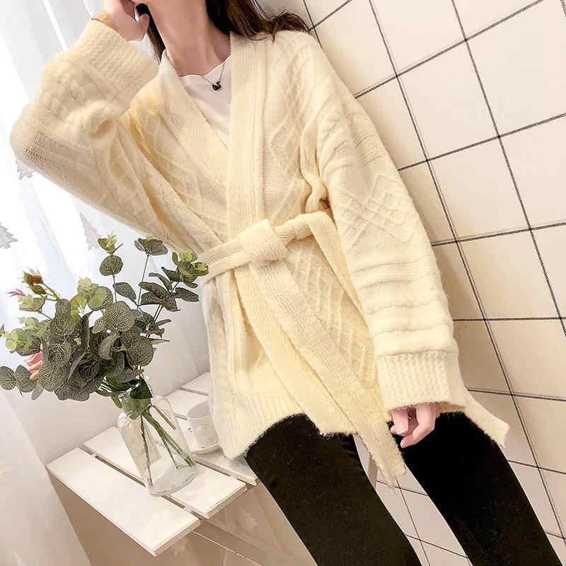 Neploe свитер, кардиган, большого размера со шнуровкой вязаное пальто с v-образным вырезом Женская одежда 2019 осень-зима утепленная Pull Femme Sueter 37200