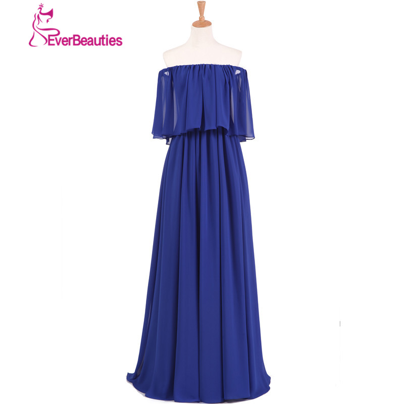 Sexy Bridesmaid Dresses Long 2018 Chiffon Off The Shoulder Boat Neck Robe Demoiselle d'honneur Wedding Party Bruidsmeisjes Jurk