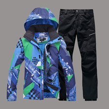 Skiing Man Gsou Snow Ski Suit Single and Double Plate Ski Jacket+Pants Windproof Waterproof Suit Set Outdoor Wear Sport Clothing