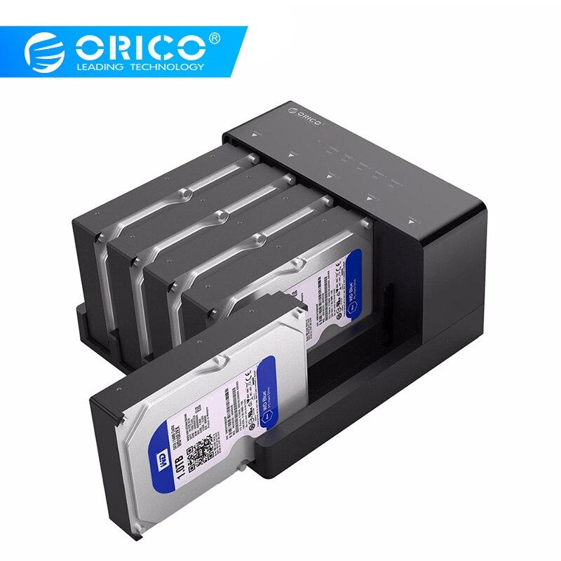 Чехол для жесткого диска ORICO 2,5/3,5 дюйма SATA-USB 3,0 с функцией клона, Поддержка 50 ТБ Max с адаптером питания 12V HDD SSD