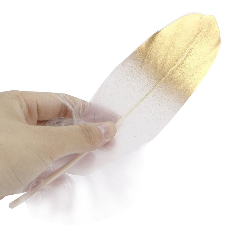 New Glitter Gold Dipped Natural White Duck Goose Feathers Decor Feathers for crafts DIY Accessories Wedding Decoration plume