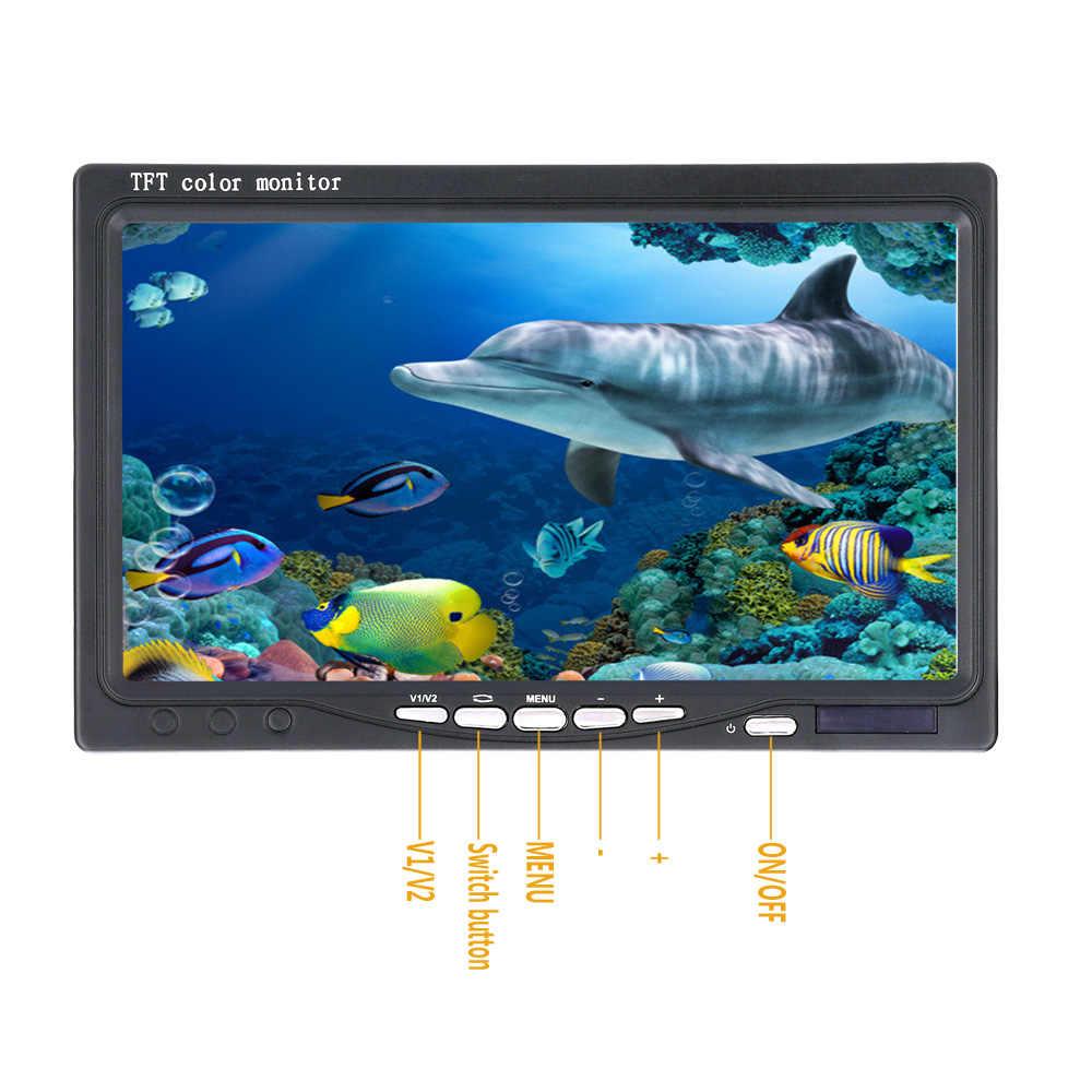 """7 """"بوصة 15 M 1000TVL صياد السمك تحت الماء الصيد كاميرا 15 قطعة المصابيح البيضاء + 15 قطعة الأشعة تحت الحمراء مصباح ل الجليد/البحر/نهر الصيد"""