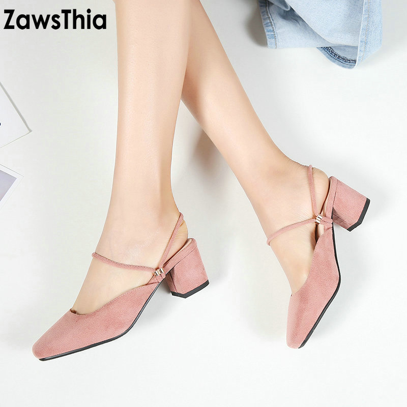 ZawsThia 2018 chunky square high heels woman summer shoes female mules for women sandals slides slippers lady shoes big size 43 big size 34 43 fashion womens shoes 7 5cm high heel slippers summer solid concise lady sandals square heels female flip flops