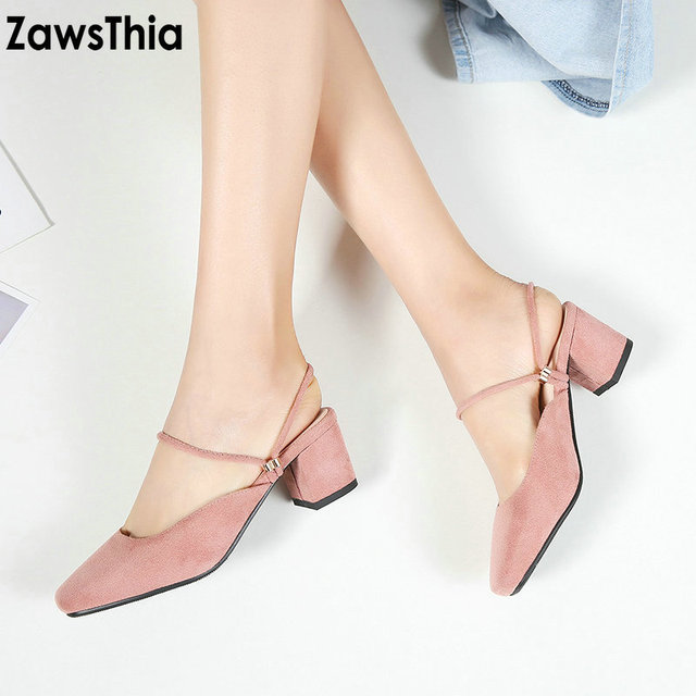 ZawsThia 2019 chunky square high heels woman summer shoes female mules for women  sandals slides slippers lady shoes big size 43 d74bfeb38dba